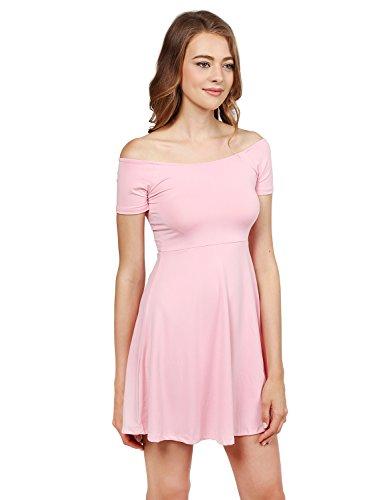 Womens Princess Dresses (Solid Tight Short Sleeve or Off Shoulder Sheath Princess Dress Pink L)