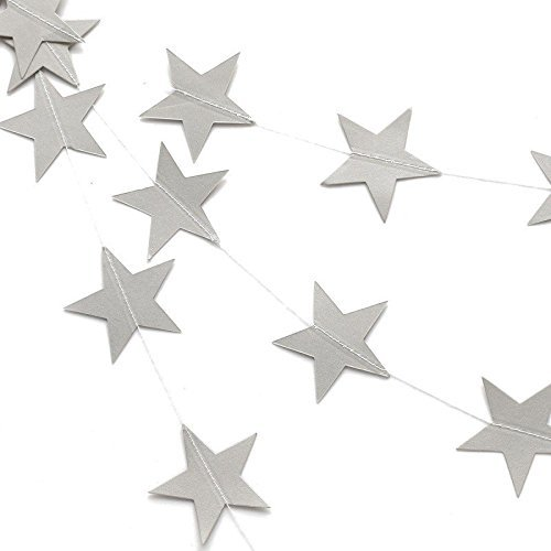 - Worldoor 4 inch in Diameter Silver Sparkle Twikle Star Paper Garland for Wedding Birthday Party Baby Shower Holiday Decoration Table Wall Ceiling Decor