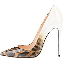 Lovirs Womens Leopard-White Pointed Toe High Heel Slip On Stiletto Pumps Wedding Party Basic Shoes 10 M US