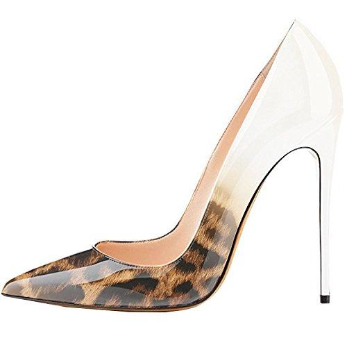 Lovirs Womens Leopard-White Pointed Toe High Heel Slip On Stiletto Pumps Wedding Party Basic Shoes 8.5 M - Leopard White