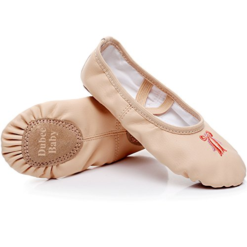 DubeeBaby Girls Ballet Slippers Shoes,Split Sole 3D Embroidery PU Leather Ballet Flats (Toddler/Little Kids/Big Kids/Adult) (Toddler 9M-Foot Length: 6.10inch/15.5cm, Nude) (Girl Ballet Shoes)