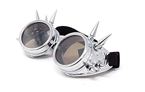 Rustique Lunettes Goth Lunettes Cyber Steampunk Victorien Soudage Qualité Vintage Cosplay Punk De Nouveauté des Rivet Lentilles Lunettes Style Argent Lunettes avec Brunes Premium TO4pxw7qw