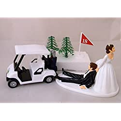 Wedding Reception Dark Hair Golf Cart Golfer Clubs Cake Topper