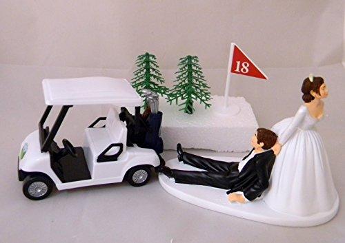 Wedding Reception Dark Hair Golf Cart Golfer Clubs Cake Topper