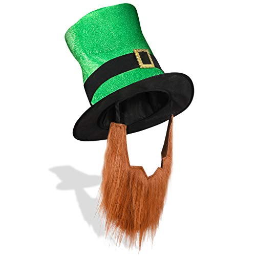 St. Patrick's Day Leprechaun Top Hat with Beard-Men's Women's Kids Irish Costume Green -