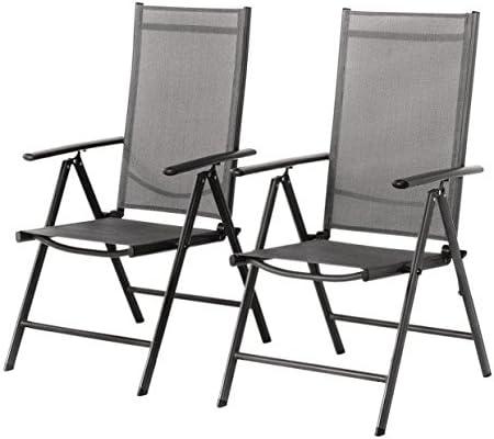 Grand patio Conjunto de 2 sillas Plegables, Ajustables, Impermeables y Resistentes al Sol, para jardín, terraza, Patio, Multi-posición, Gris Carbón: Amazon.es: Jardín