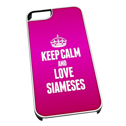 Bianco cover per iPhone 5/5S 2128Pink Keep Calm and Love Siameses