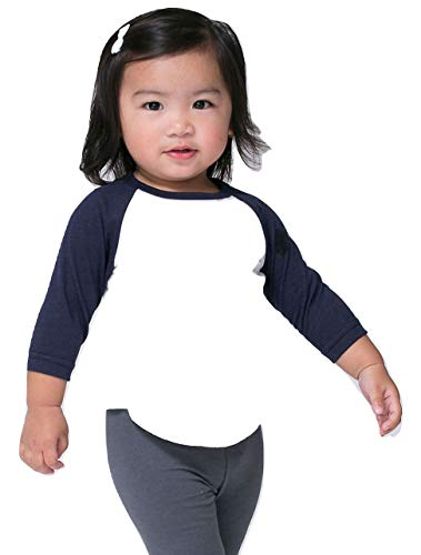 (American Apparel Infant Poly-Cotton 3/4 Sleeve Raglan (White/Navy, 12-18 Months))
