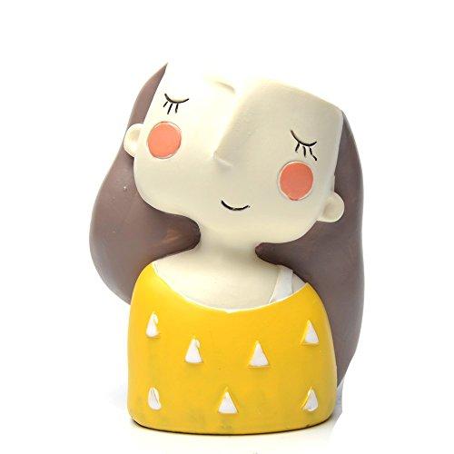 COOLSKY Cute Girl Cartoon Flowerpot Home Decoration Succulent Resin Mini Planter Flower Pot with A Garden Tool Set (Yellow Dress Girl) by COOLSKY