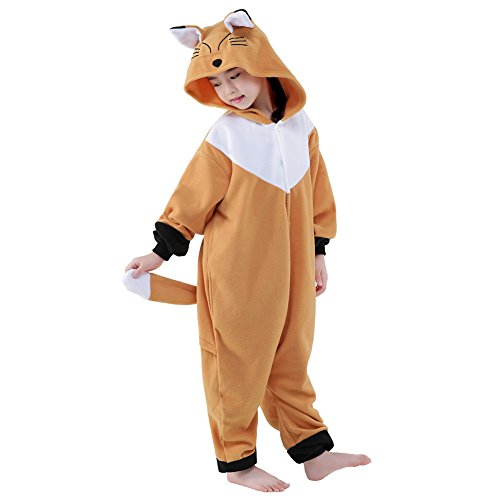 NEWCOSPLAY Halloween Unisex Children Animal Pajamas Costume (115, Brown Fox) (Infant Fox Halloween Costume)