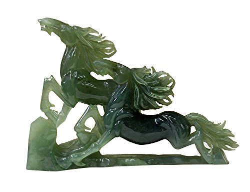 (Small/Unique/Gift Items Chinese Green Jade Stone Double Horses Fengshui Display Figure)