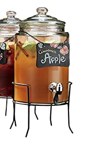 Home Essentials & Beyond Del Sol 1.5 gallon Chalk Board Beverage Dispenser with Stand, Clear