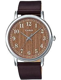 MTP-E145L-5B2 Men's Minimalist Brown Wood Pattern Dial...