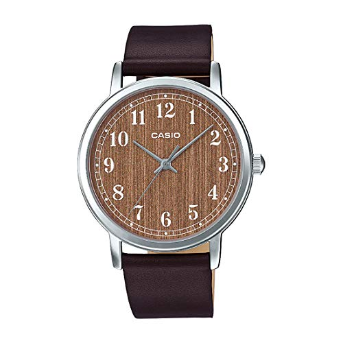 Casio MTP-E145L-5B2 Men's Minimalist Brown Wood Pattern Dial Leather Band Analog Watch