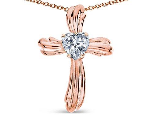 Star K Heart Shape 6mm Genuine White Topaz Ribbed Cross Of Love Pendant Necklace 14k Rose Gold