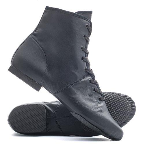 Stage Boot Fendue Noir En Semelle Lacets Danse Katz La Par Shoes Jazz Dancewear Jusqu' Caoutchouc z4vSSq