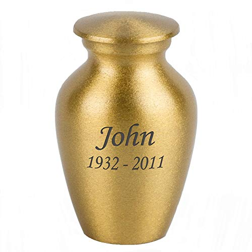 Perfect Memorials Custom Engraved Keepsake Classic Gold Brass Cremation Urn