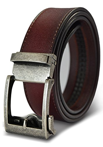 Antique Buckle Silver (Classic Men's Leather Ratchet Click Belt - Antique Silver Buckle with Brown Rosewood Leather Belt (Trim to Fit: Up to 38'' Waist))
