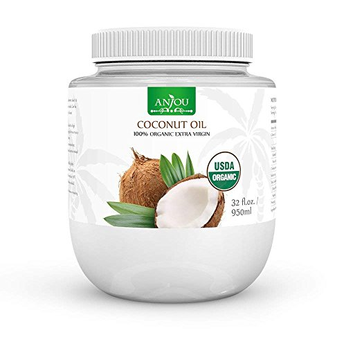 Anjou Organic Coconut Oil from Sri Lanka, USDA-Certified Extra Virgin Coconut Oil, BPA-Free Bottle, for Clean Cooking & Baking, Nourishes Skin & Hair, Oil Pulling, Oil Makeup Remover, 950ml / - Quench Skins