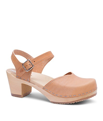 Sandgrens Swedish Wooden High Heel Clog Sandals for Women | Victoria Nude Veg, EU 42