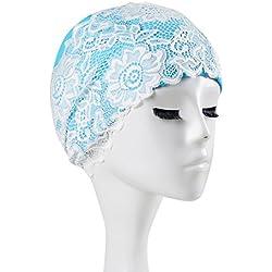 PaiNa Swim Cap - Women Stylish Swimming Cap Great For Ladies Adult Length PU Waterproof Lace Cap Length Of Professional Swimming Cap (blue)