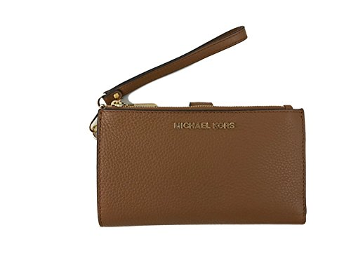 Michael Kors Jet Set Travel Double Zip Leather Wristlet Wallet in Acorn (Michael Kors Jet Set Large Multifunction Phone Case)