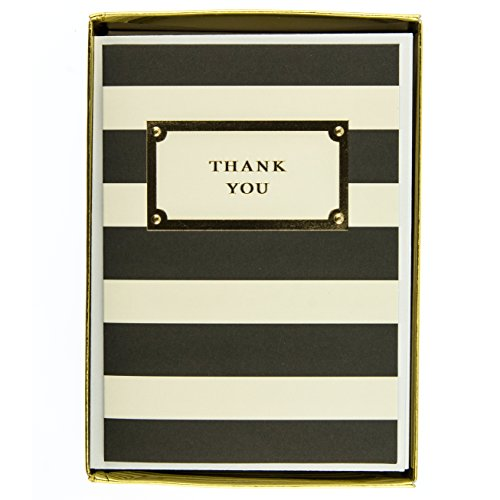 (Graphique Elegant Thank You Boxed Notecards, 16 Black and Cream Striped