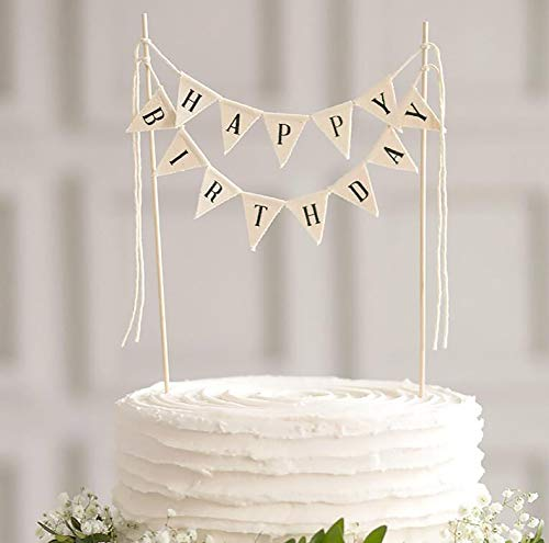 LIMITLESS Happy Birthday Cake Topper Banner - Handmade Ivory Pennant Flag Banner Cake Topper with Wooden Polls - Perfect for cakes, donut cakes, cupcakes and more! (Happy Birthday Cake)