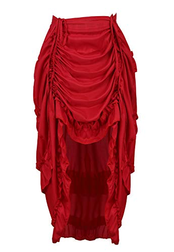 (Zhitunemi Women's Steampunk Skirt Ruffle High Low Outfits Gothic Plus Size Pirate Dressing Wine Red XS/S)