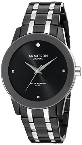 Armitron Men's 20/5074BKTB Diamond Accented Black and Silver-Tone Bracelet Watch