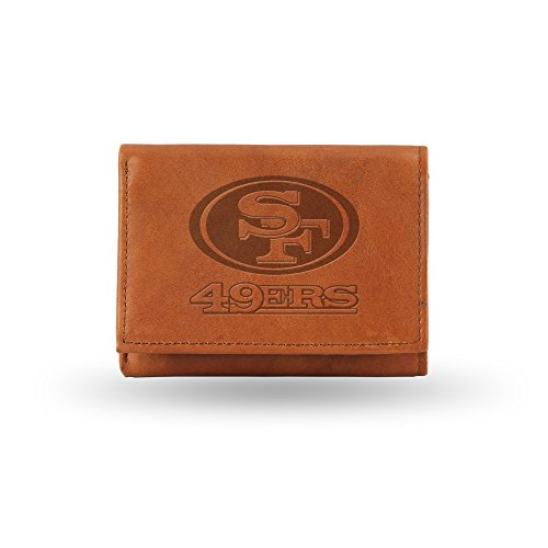 Nfl Team Embossed Billfold (NFL San Francisco 49ers Embossed Genuine Cowhide Leather Trifold Leather)