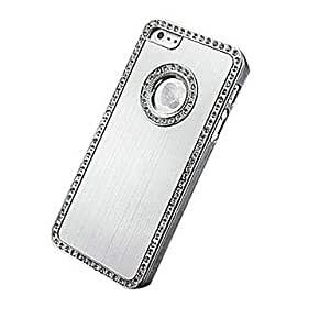 Aluminum Hard Case with Man-Made Diamond Chrome Back Cover for iPhone 5/5S/5G (Assorted color) --- COLOR:Silver