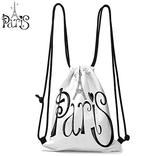 Paris City Decor Portable drawstring backpack Illustration with Eiffel Tower France Heart Shapes Silhouette Decorative Vacation Art For the gym W17.3 x L13.4 Inch