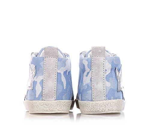 FALCOTTO NATURINO - Zapatilla gris y azul con cordones en cuero y tela, ideal para el gatear y el primer paso, Bebé Niño Azul