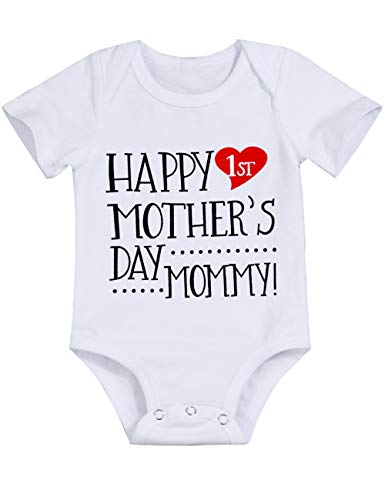 Happy 1st Mother's Day Mommy Outfit Newborn 3 6 9 12 Months Baby Boy Girl Bodysuit Romper Cute Letter Printed Infant Jumpsuit Clothes 0-3 Months -