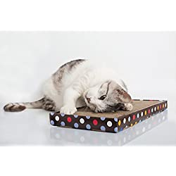 """2 Pack Cardboard Cat Scratcher. Extra Durable, Less mess. Free Bonus - Second Refill Pad and a Cat Teaser Toy. Hangable - 17""""x9"""" Frame. With Catnip. By NOY'S PETS"""