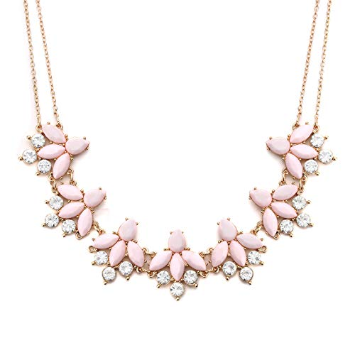 LIAO Jewelry Crystal Flower Collar Necklace for Women Chunky Rhinestone Floral Bib Statement Choker Necklace ()