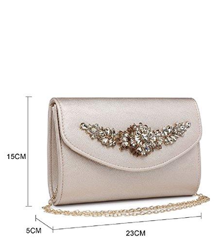 Diamante Pink Ladies Handbag Envelope Clutch Party ME68019 Women's Purse Evening Bag Satin q1r1wnXP