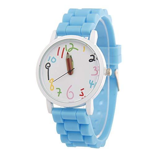 Rosepoem - Reloj Digital Dial Muñeca Moda Casual Gel de sílice Correa de Dibujos Animados Lápiz Puntero Accesorios para niños: Amazon.es: Relojes