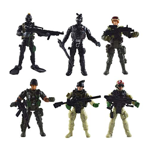 - FRECI 6pcs Plastic Army Playset Movable Army Soldiers with Accessories Action Figures Model Playset Kits Toy Showcase Diasplay
