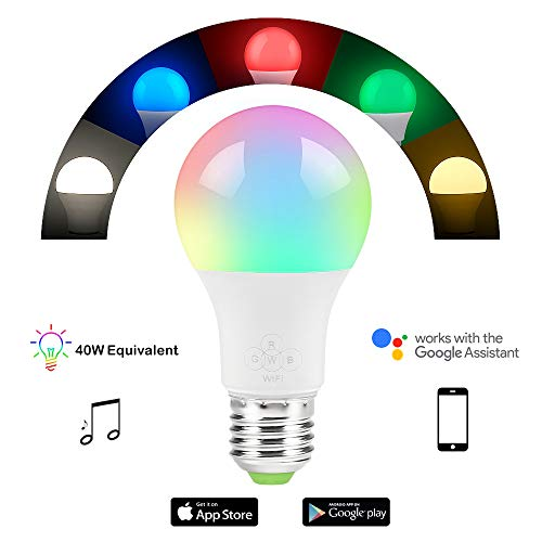 Nexlux Smart Bulb, Sunrise Wake-Up WiFi Lights,Cellphone Control Color Tunable Soft,Cool White,RGB Led Light Bulb 4.5W(40W Equivalent),Compatible with Alexa and Google Assistant