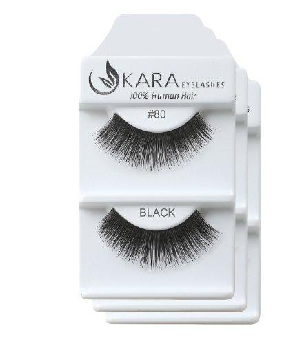 KARA 100% Natural Human Hair Hand Crafted Eyelashes Short, Medium, Long 3Pairs