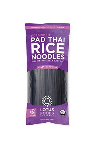Lotus Foods Organic Forbidden Rice Pad Thai Noodles, 8 oz, 8 Count (Single Practice Pad)