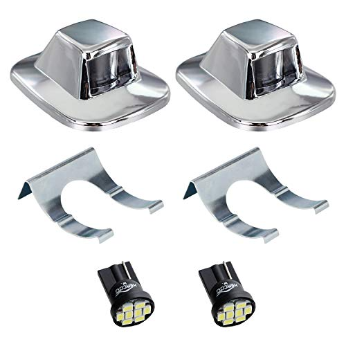 HERCOO LED License Plate Light Lamp Lens White Bulbs Chrome Truck Rear Housing Compatible with 1992 1993 1994 Chevrolet Blazer 1988 to 1999 Chevy C1500 K1500 Suburban Tahoe GMC Sonoma Yukon,Pack of 2