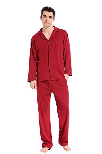 Like2sea Cotton Knit Pajamas for Men, Long Button Down Sleepwear Set, Red Wine, XL
