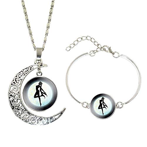 Frodete Lucky Moon Shaped with Round Glass Dancer Girl Pendant Necklace & Bangle Vintage Women Jewelry Set ()