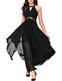 Women s Choker V Neck Sleeveless Chiffon Boho Long Dress 4c5f9f93b