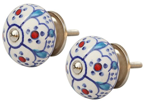 ADD ON ITEMS - Set of 2 Ceramic Knobs with Hardware Attached - Round Handpainted White & Blue Flowers Pattern Decorative Cabinet / Cupboard / Chest / Kitchen Drawer Pulls