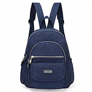 AOTIAN Mini Nylon Women Backpacks Casual Lightweight Strong Small Packback Daypack For Girls Cycling Hiking Camping Travel Outdoor Deep Blue