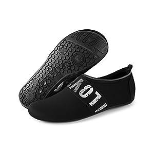 JIASUQI Men's Women's Lightweight Water Shoes Sand Sock For Beach Swim Silver Black US 11-12 Women, 9.5-10 Men